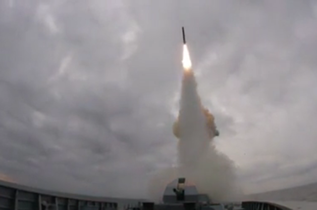 250km in 2 min: WATCH Russian frigate fire Kalibr missile during Black Sea drill