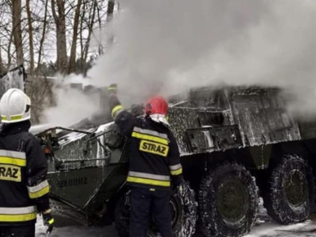 Photos: US Armored Carrier Catches Fire Amid NATO Show of Strength Against Russia