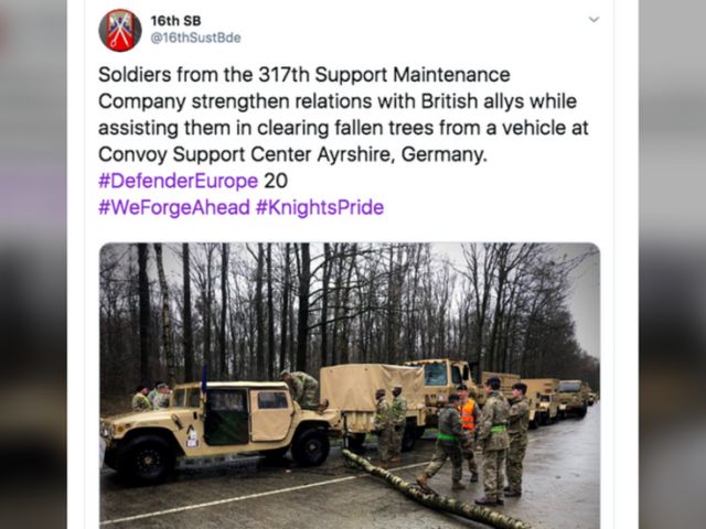 How many #DefenderEurope troops does it take to clear fallen trees from a road? US & British troops show master class!