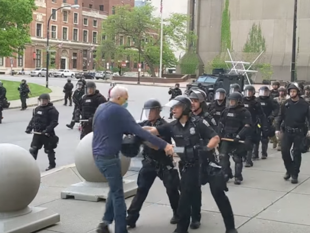 GRAPHIC VIDEO shows officers pushing protester, knocking him UNCONSCIOUS, then claim he 'tripped'