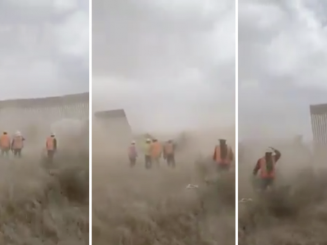 WATCH: Viral video claims to show 'Trump's border wall' COLLAPSE under the wrath of Hurricane Hanna