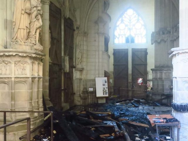 PHOTOS of burnt Nantes cathedral show fire started in SEVERAL places, as arson probe launched