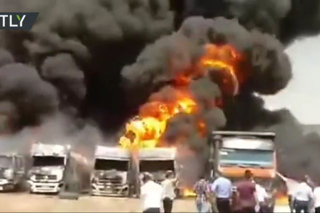 WATCH: Fuel trucks explode in western Iran amid mysterious spate of fires and explosions across the country