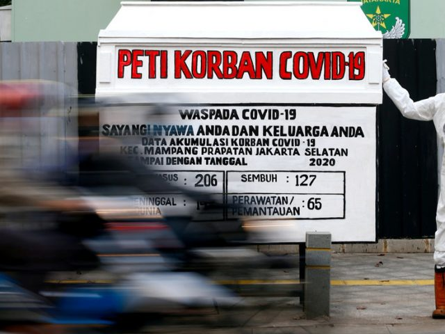 Mask rules violators in Indonesia forced to sit in hearse next to Covid-19 casket & reflect on their misdeeds – media