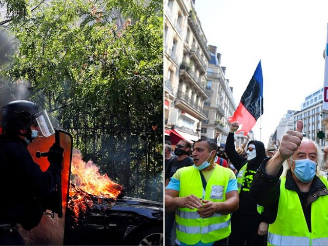 Yellow Vests' encore: Tear gas & dozens of arrests as France's most vocal protest movement makes 1st comeback during Covid-19
