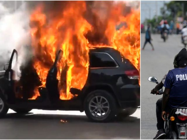 WATCH chaotic protests grip Haiti's capital as demonstrators torch cars & demand release of detained police officer