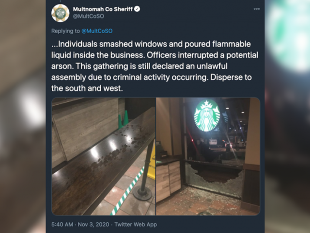 WATCH: Police interrupt 'possible arson attempt' at Portland Starbucks, as protesters promise 'good show' on election night