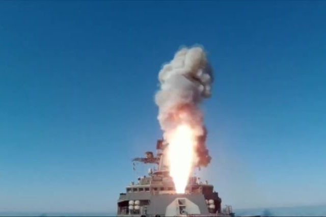 Russian Pacific Sea frigate hits land target with Kalibr missile as country's navy undergoes extensive modernization (VIDEO)