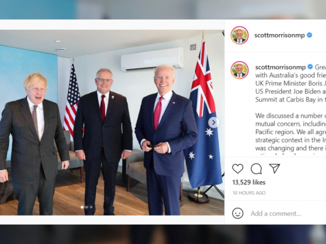 Aussies snicker after PM Morrison's first one-to-one with Biden turns into three-way meeting with UK's Johnson