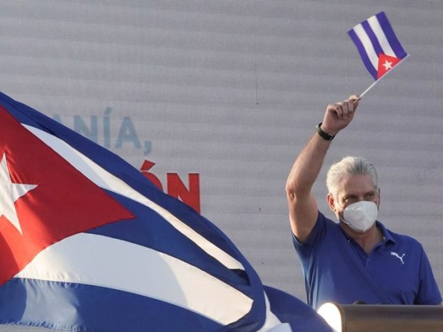 Cuban president denounces US-backed 'media terrorism' while addressing massive supporters' rally