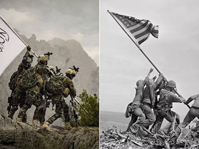 Taliban Fighters With US Weapons and American Gear Pose for Iwo Jima Flag Raising-Style Photoshoot