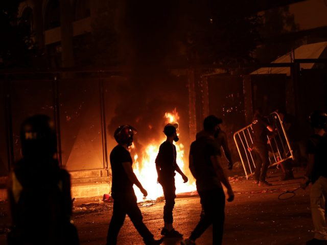Fire breaks out as protesters attempt to storm Beirut parliament in second night of demonstrations (VIDEO)