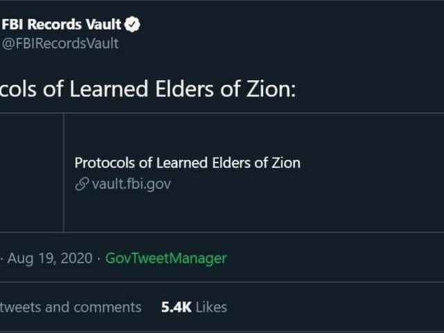 FBI slammed after tweeting out ZION PROTOCOLS, history's most notorious anti-Semitic pamphlet