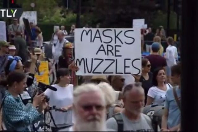 'Masks are muzzles': Protesters rally outside BBC HQ & march to Downing Street after UK govt widens mask-wearing orders