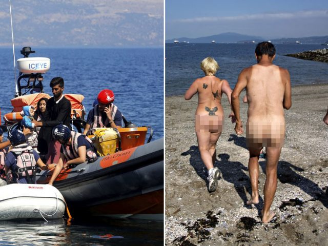 'You couldn't write it': Migrant boat lands on British NUDIST BEACH, locals offer newcomers drinks