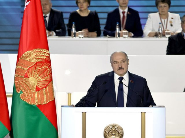 Belarusian President Lukashenko says he'll leave office when 'peace and order' is restored, promises to hold 'open election'