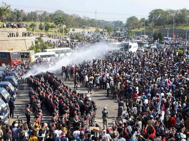 Myanmar police deploy water cannon as thousands continue protests against military coup (VIDEO)