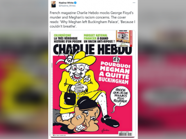 Wrong on every level': Charlie Hebdo condemned for 'disgusting' cartoon making fun of royals, Meghan Markle and George Floyd