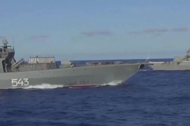 Russia's Pacific Fleet kicks off large-scale drills in international waters as ships practice maneuvering far from home (VIDEO)
