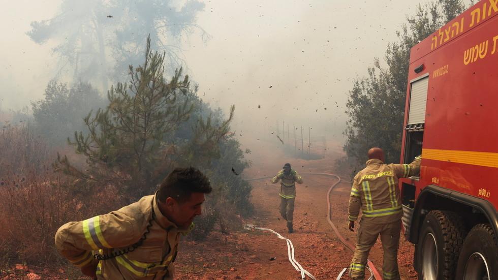 Scores of Israeli firefighters
