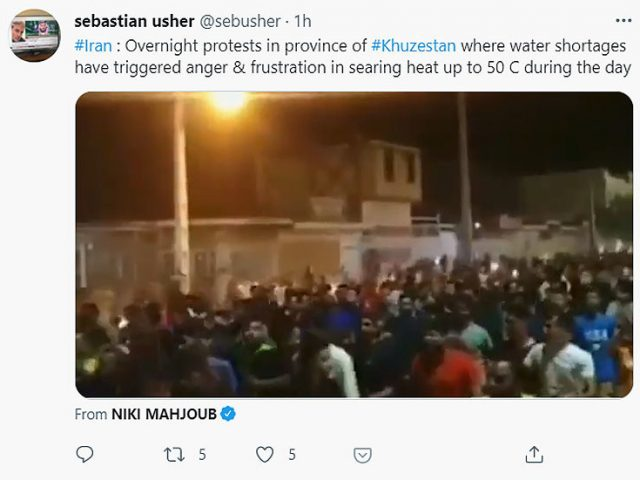 People take to Iran's streets to protest water shortage amid country's most severe drought in 50 years