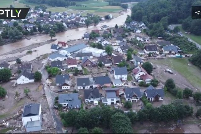 Drone VIDEO shows partly submerged German town as severe floods claim 100+ lives nationwide