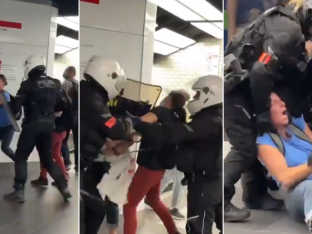 WATCH: French riot cops brutally arrest 2 women… but retreat in face of big crowd of anti-Covid pass protesters in Paris mall