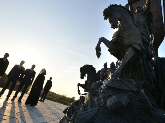 Putin's unveiling of monument to Alexander Nevsky on NATO frontier shows how Russia believes real threat comes from West, not East