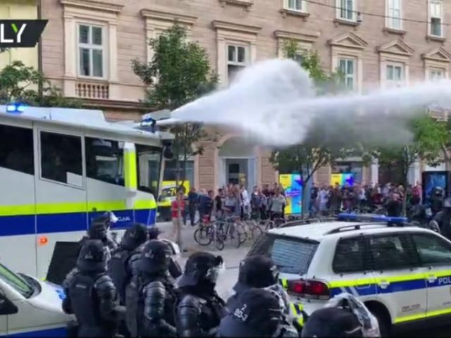 Slovenian police deploy water cannon & tear gas against hundreds marching in protest of Covid restrictions before major EU summit